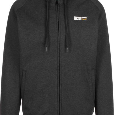 montana typo logo hooded zipper grey